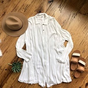Free People White LS Shirt Dress